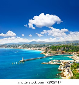 View of mediterranean resort, Nice, Cote d'Azur, France. turquoise sea and perfect sunny blue sky.