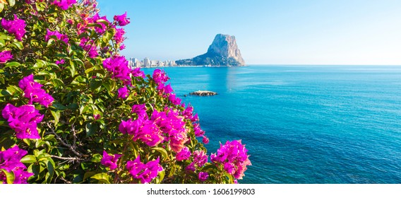 View to Mediterranean Sea, famous Rock Penon de Ifach in Calp, Valencia province, Costa Blanca, Spain
