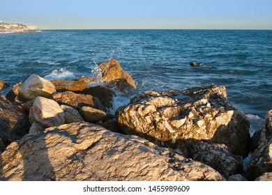 View of the Mediterranean sea, Malaga, Andalusia, Spain