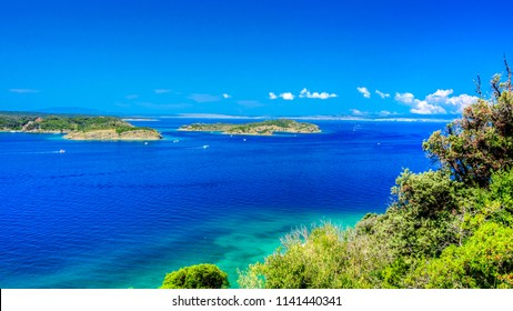 view of mediterranean sea in northern Croatia, island Rab with its beautiful turquoise color of water and nature