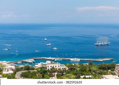 View of Mediterranean Sea on the mountain of Capri island, Italy