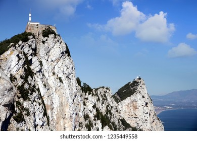 View of the Mediterranean Sea and the Rock of Gibraltal in a sunny day from the top of the cliff.