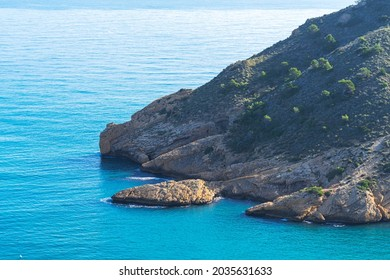 View to Mediterranean sea and Sierra gelata natural park naer lighthouse Albir, Costa Blanca, Spain