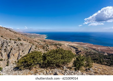 View of the Mediterranean sea from the top of the Imbros gorge. Greece. Crete.
