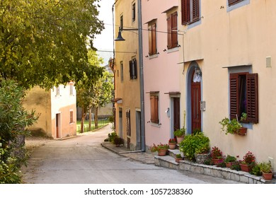 View of Mediterranean Street in Istria. Croatia.