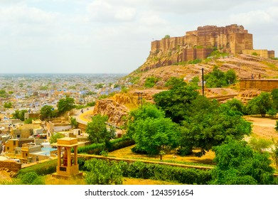 View of Mehrangarh fort on Bakharchiriya hill overlooking the city of Jodhpur and the surrounding plain, Rajasthan, India