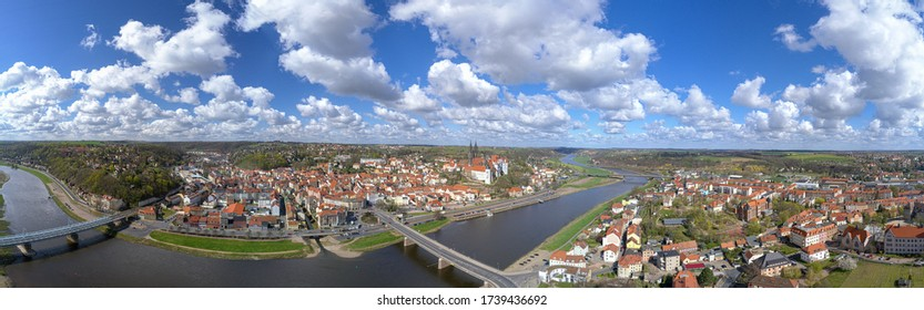 View of Meissen on the Elbe in the Free State of Saxony
