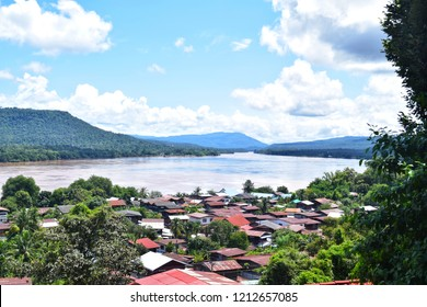 View of the Mekong River, Thailand. Two Rivers at Ubon Ratchathani Thailand