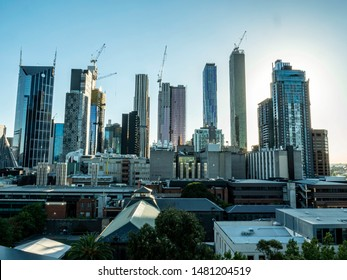 View of Melbourne, Australia buildings during sunset. Trademarks removed, no people.