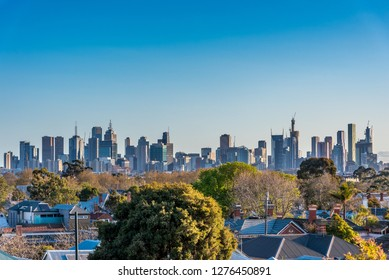 A view of the Melbourne. Australia skyline as seen from the suburb of Northcote