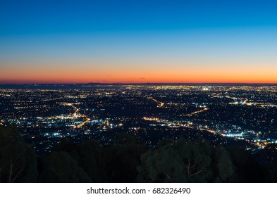 View of Melbourne, Australia at sunset from Mount Dandenong in the Dandenong Ranges.