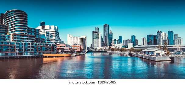 View of Melbourne Skyline Buildings on the Yarra River