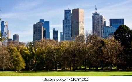 View of Melbourne Skyline from the Fitzroy Gardens. Australia