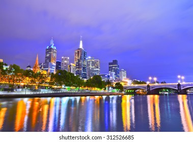 View of Melbourne skyline at night