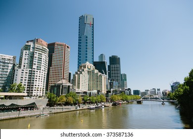 View of Melbourne's Eureka Tower, the tallest building in the southern hemisphere, with the Yarra River in the foreground.