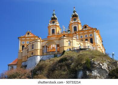 The view of the Melk Abbey from below in Melk (by the Danube), Wachau region, Austria