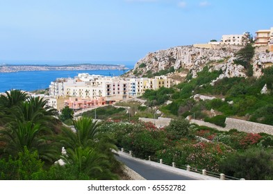 View to Melliha village and famous bay on Malta island