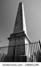 A view of a memorial obelisk on the summit of Dun More hill in the Perthshire town of Comrie