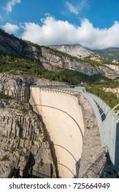 View of memorial site at Vajont Dam in italy, unused by 1963 landslide disaster.