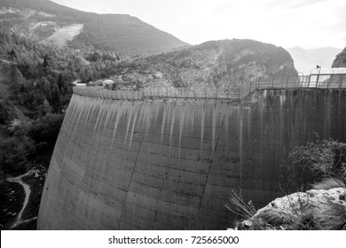 View of memorial site at Vajont Dam in italy, unused by 1963 landslide disaster.