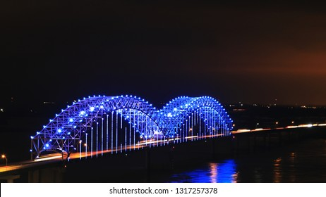 A View of Memphis, Tennessee bridge after dark