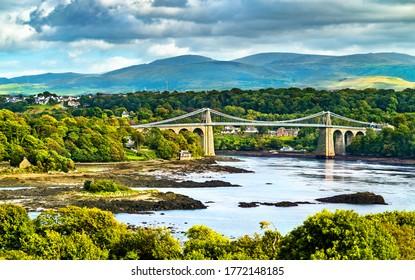 View of the Menai Suspension Bridge across the Menai Strait in Wales, Great Britain
