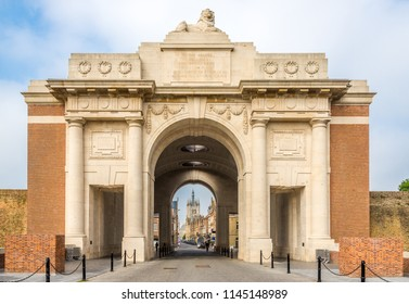 View at the Menin Gate Monument (World War Memorial) in Ypres, Belgium