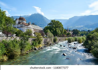 View of Merano Meran a town in south tyrol italy crossed by the river passirio