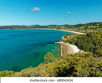 View of Mercury Bay and Cook's Beach from Shakespeare Cliff Lookout,  Named by Captain James Cook in 1769,  Coromandel Peninsula, North Island, New Zealand