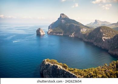 view from the meridor de sa creuta to the famous cap de formentor on the island of mallorca
