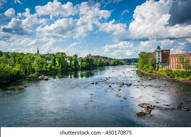 View of the Merrimack River, in downtown Manchester, New Hampshire.