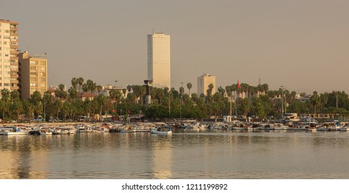 View of Mersin coast from fishing boats and remote view of Mersin market, Turkey