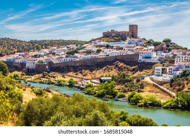 View Of Mertola City With Mertola Castle And Church - Mertola, Alentejo, Portugal, Europe