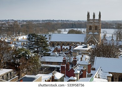 View of Merton College and Merton Chapel in winter, Oxford, UK