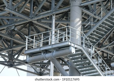view of a metal staircase with many steps