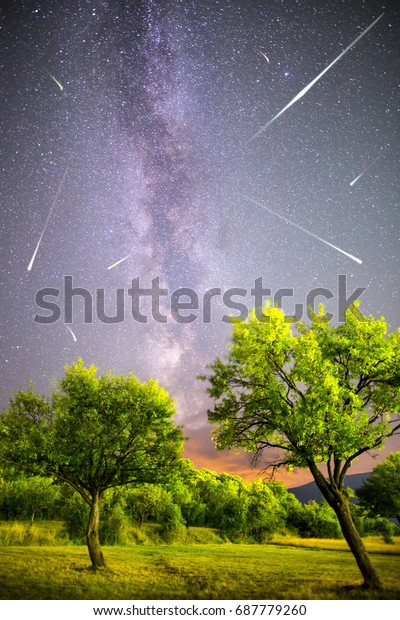 A view of a Meteor Shower and the Milky Way. Green plum trees with plums high in the mountain in the foreground. Night sky nature summer landscape. Perseid Meteor Shower observation. Vertical image.