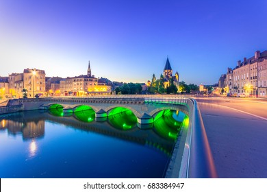 View of Metz with Temple Neuf at the Moselle River, Lorraine, France