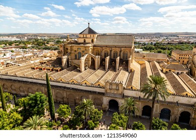 View of Mezquita, Catedral de Cordoba, from the Bell tower, the former Minaret of the Moorish mosque. Cordoba, Andalucia, South of Spain. The cathedral is a UNESCO world heritage site.