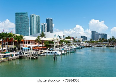 View of the Miami Bayside Marketplace. All logos and brand names removed.