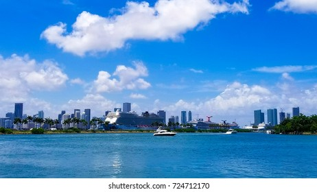 View of Miami downtown, boat and skyscrapers.