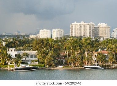 The view of Miami Palm Island residential district in a sunset light (Florida).
