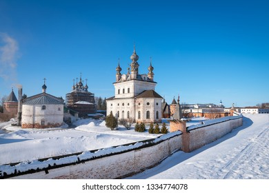 View of the Michael Archangel Cathedral and other buildings of the monastery from ramparts in Yuryev-Polsky, Russia