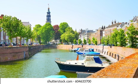 View of Middelburg, the Netherlands. Beautiful houses and boats at the canal.