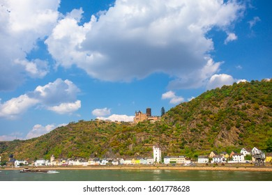 View of middle Rhine River in Germany at the Lorelei with villages in view.