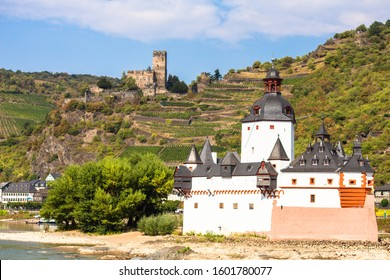 View of middle Rhine River in Germany with ancient castles in view