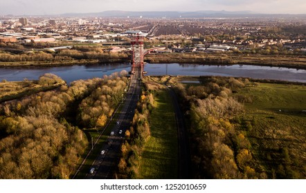 The view of Middlesbrough from Stockton-on-Tees showing the town and the iconic steel Newport Bridge