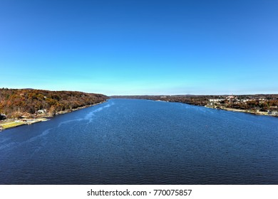 View from the Mid-Hudson Bridge crossing the Hudson River in Poughkeepsie, New York