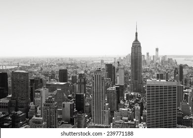 View of Midtown Manhattan New York City skyline in black and white