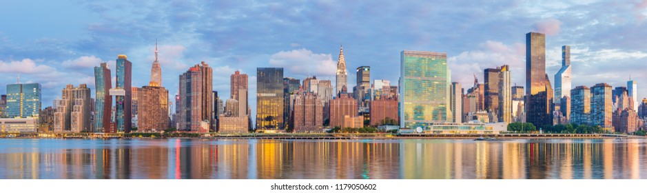 View to midtown Manhattan at sunrise from the Long Island City, New York, USA