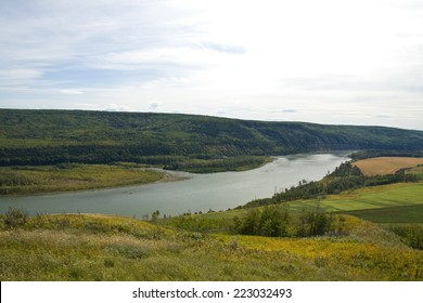 View of the mighty Peace River, northeastern British Columbia, Canada